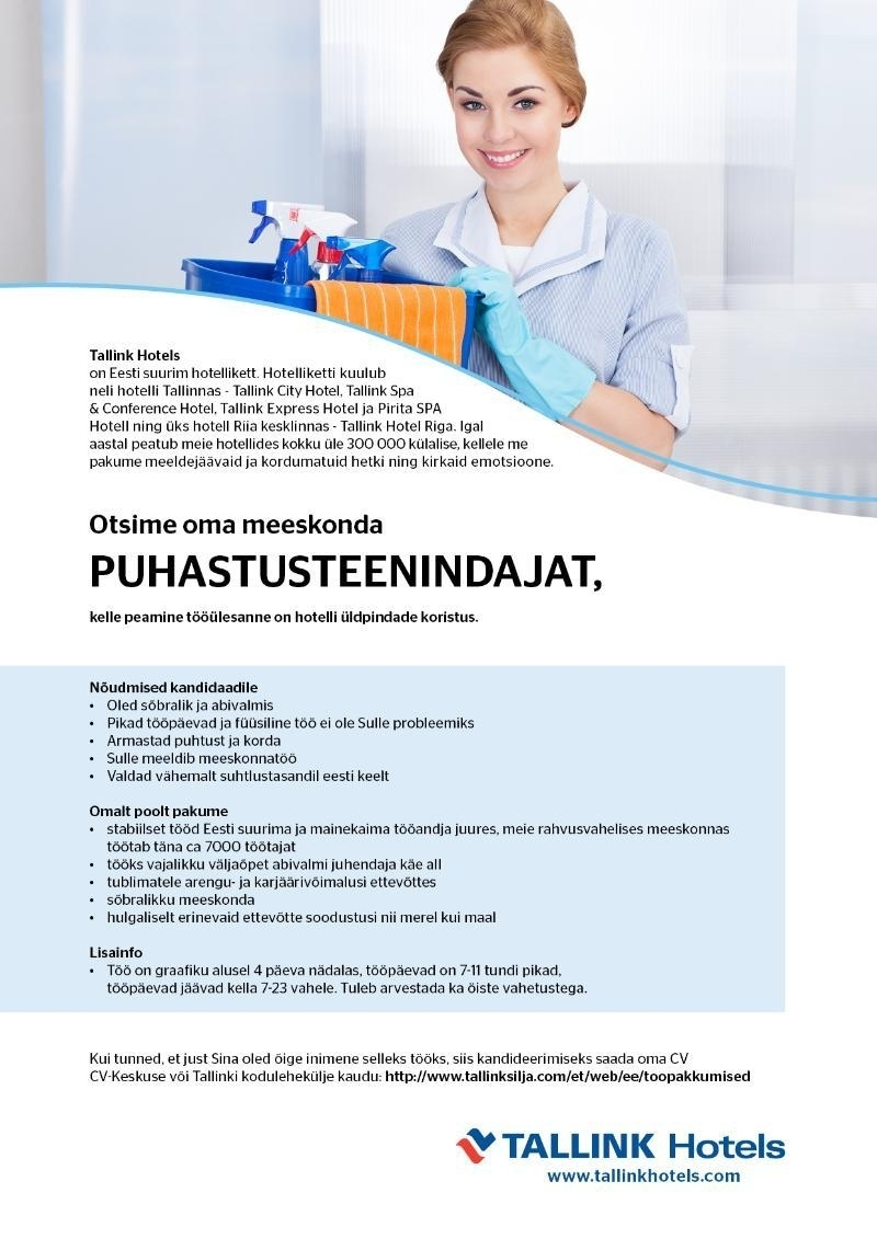 Cv Keskus T 246 246 Pakkumine Puhastusteenindaja Tallink Spa