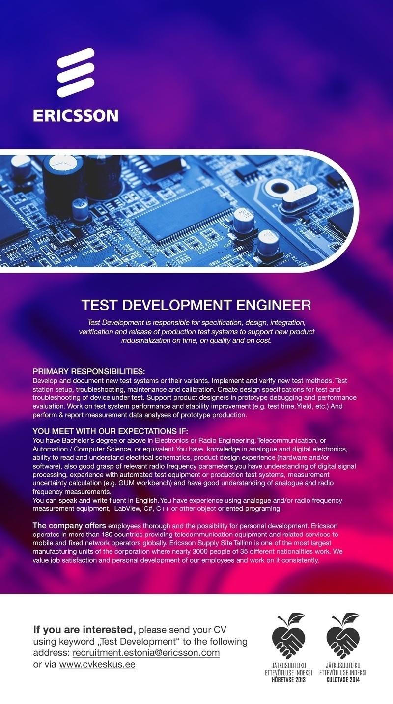 cv keskus t u00f6 u00f6pakkumine test development engineer