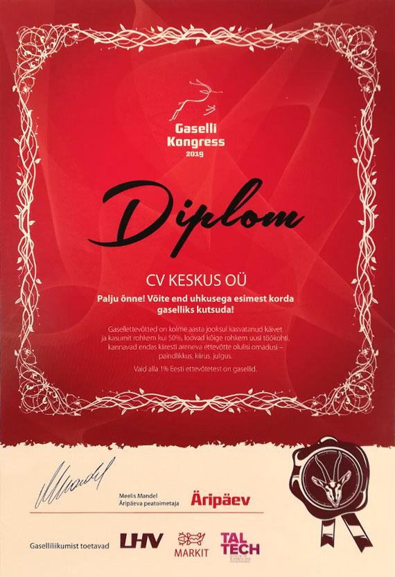 Eesti Gasellettevõte 2019 diplom