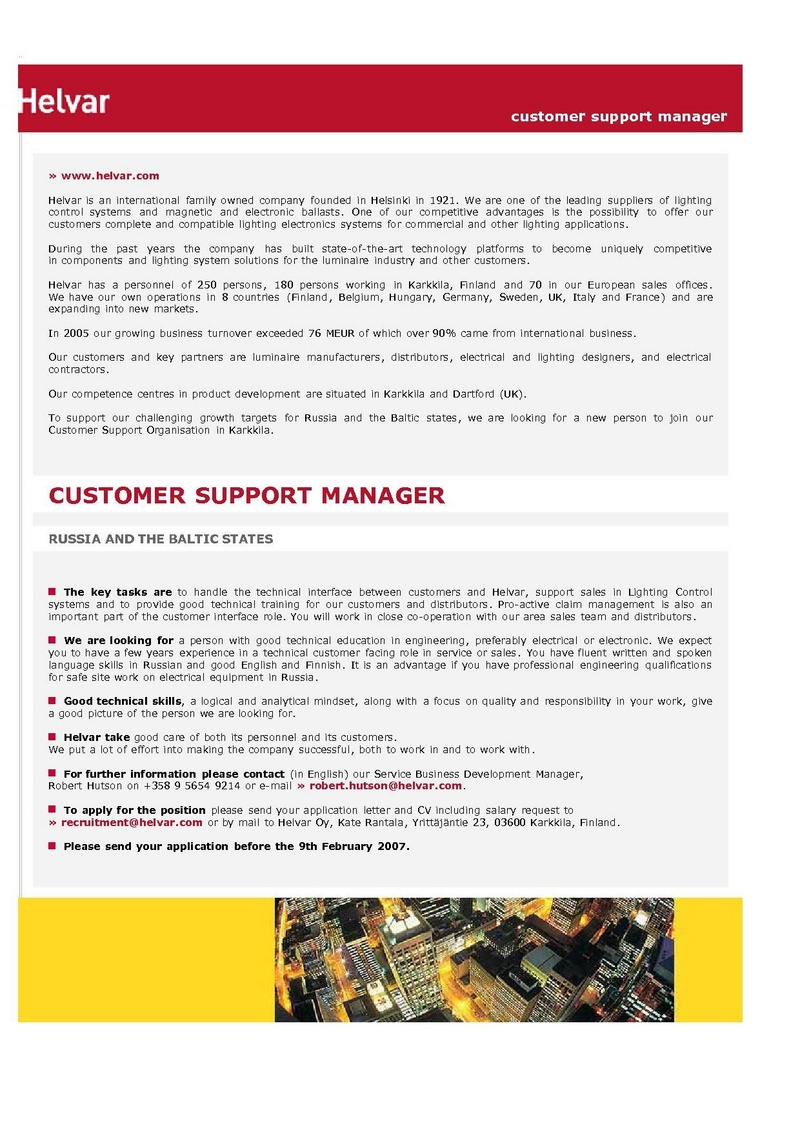 CV Market´s client Customer Support Manager