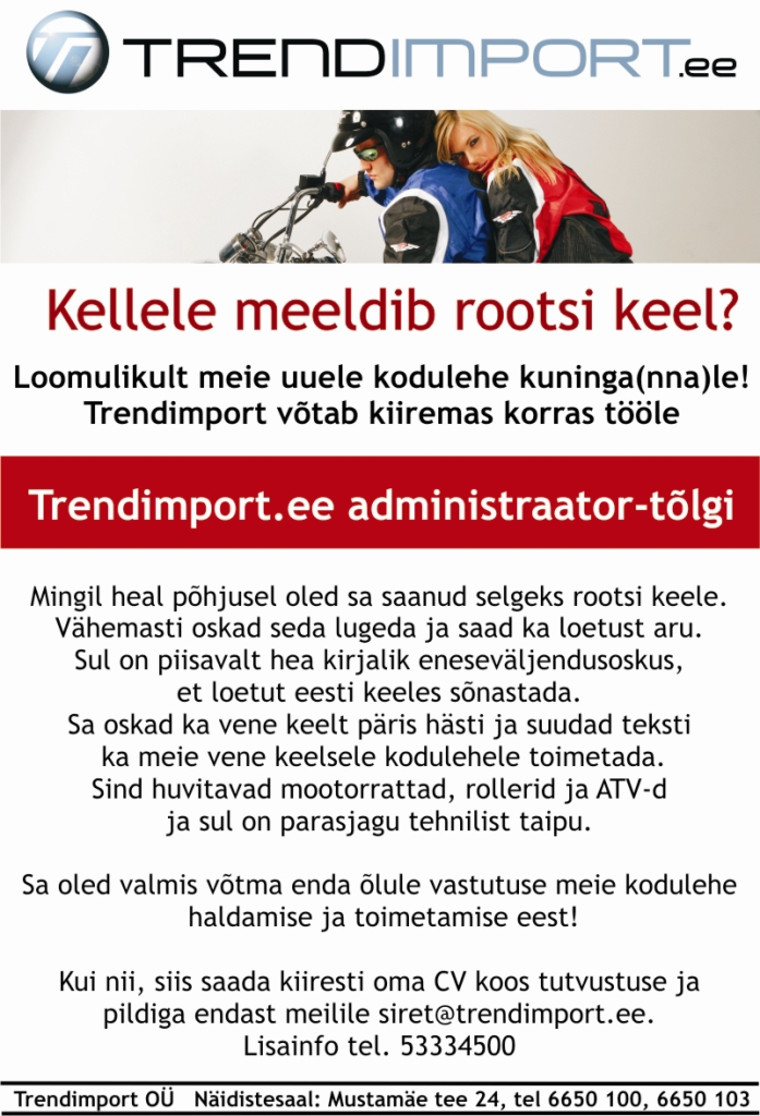 17b9d019e59 CV Keskus tööpakkumine Trendimport.ee administraator-tõlk