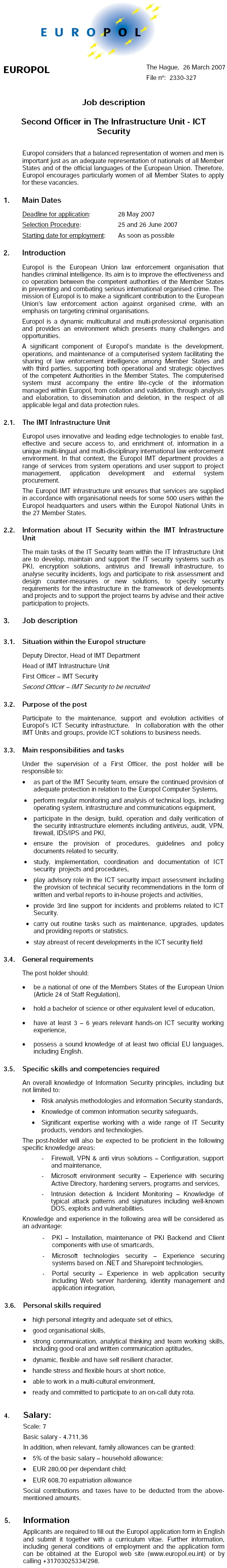 CV Market´s client Second Officer in The Infrastructure Unit - ICT Security