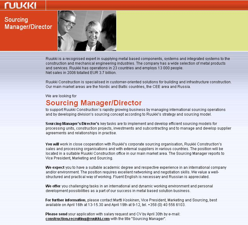 CV Market´s client Sourcing Manager / Director