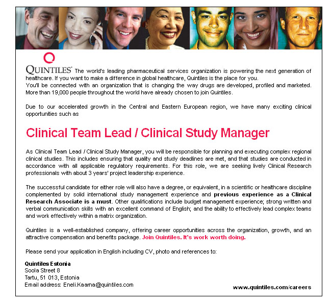 CV Market´s client Clinical Team Lead / Clinical Study Manager