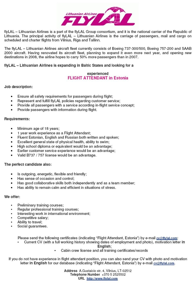 CV Market´s client FLIGHT ATTENDANT in Estonia
