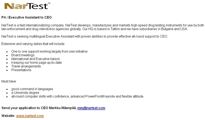 CV Market´s client PA / Executive Assistant to CEO
