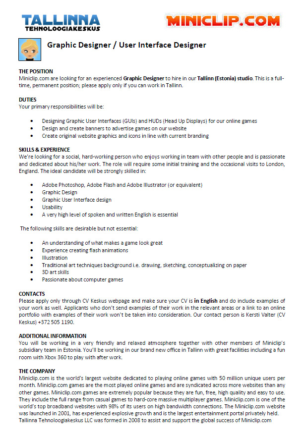 CV Market´s client Graphic Designer / User Interface Designer