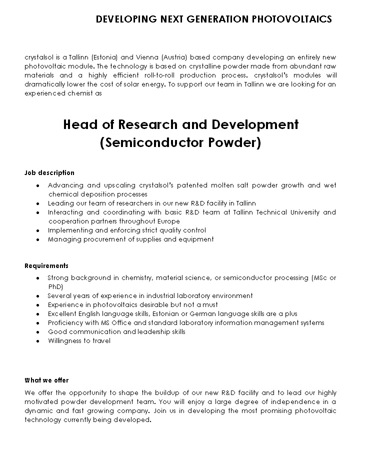 CV Market´s client Head of Research and Development