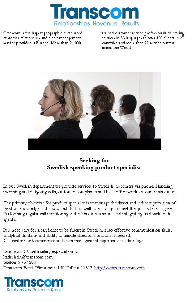 Firma nimi peidetud Swedish speaking product specialist
