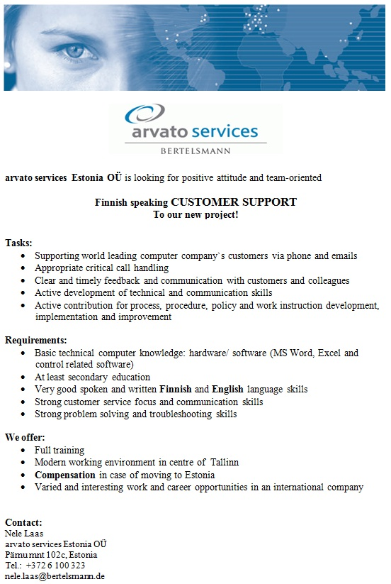 CV Market´s client Finnish speaking CUSTOMER SUPPORT