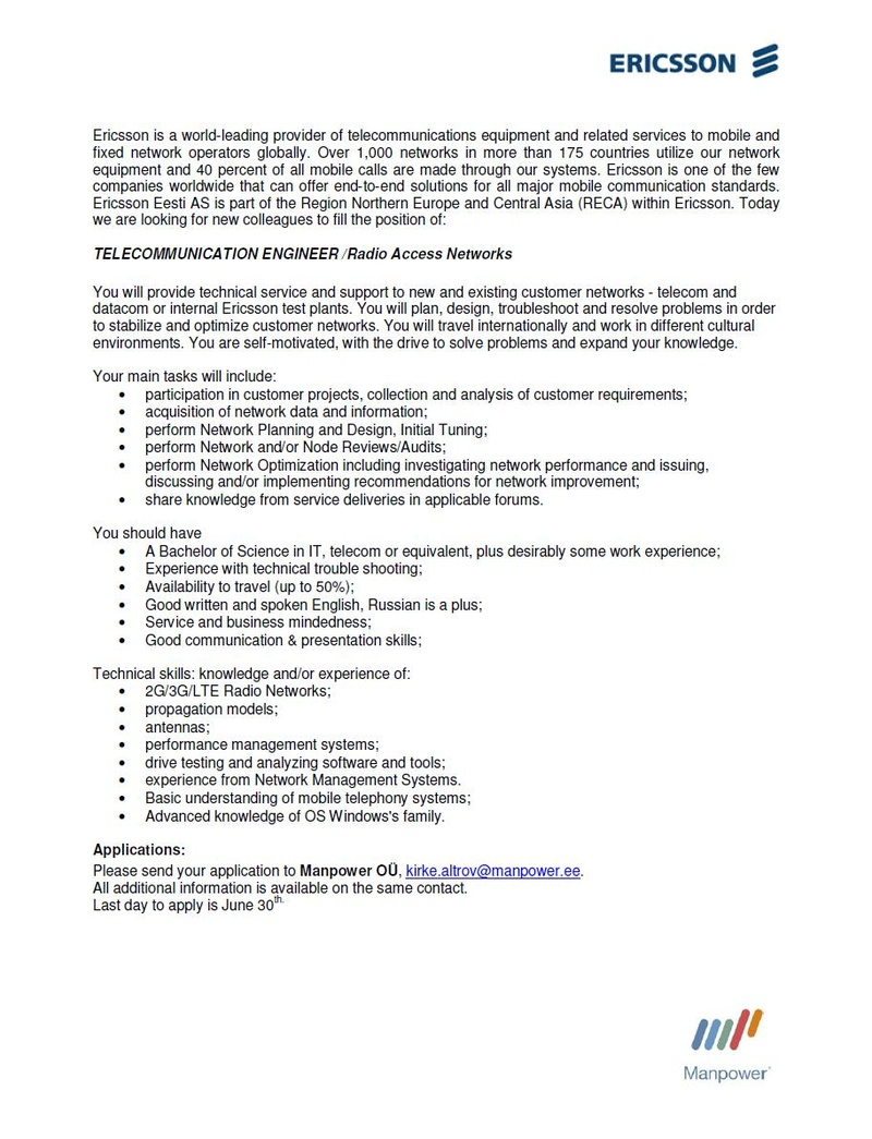 CV Market´s client TELECOMMUNICATION ENGINEER / Radio Access Networks