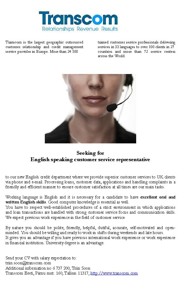 Firma nimi peidetud English speaking customer service representative