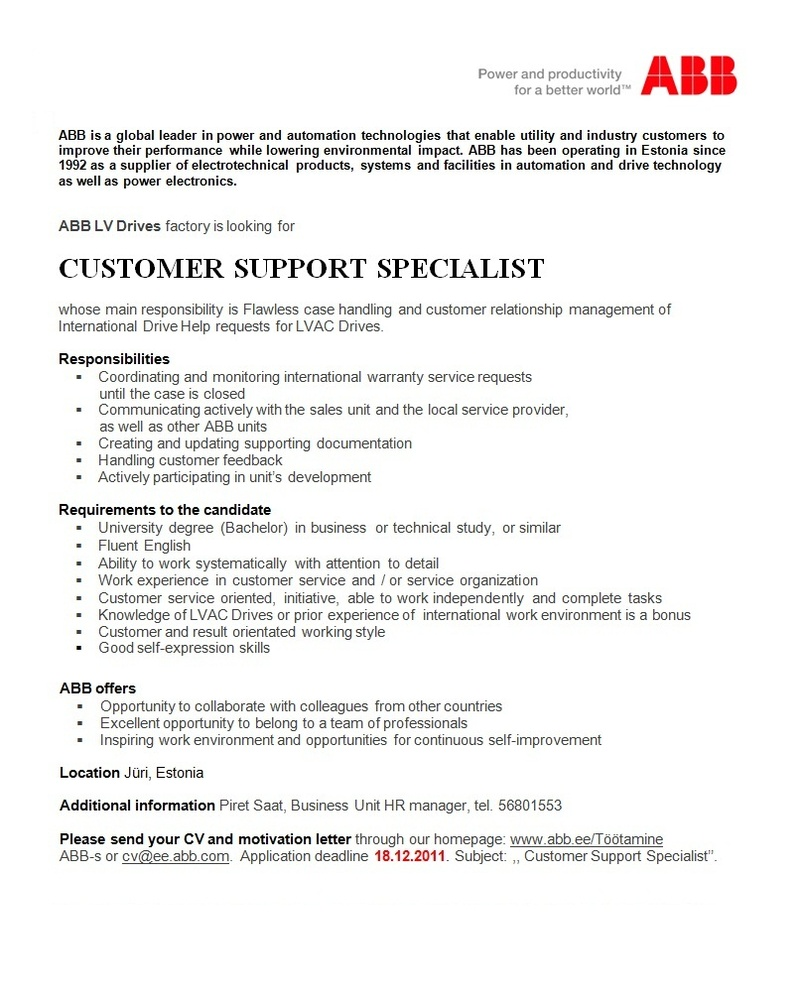 CVKeskus.ee klient Customer Support Specialist