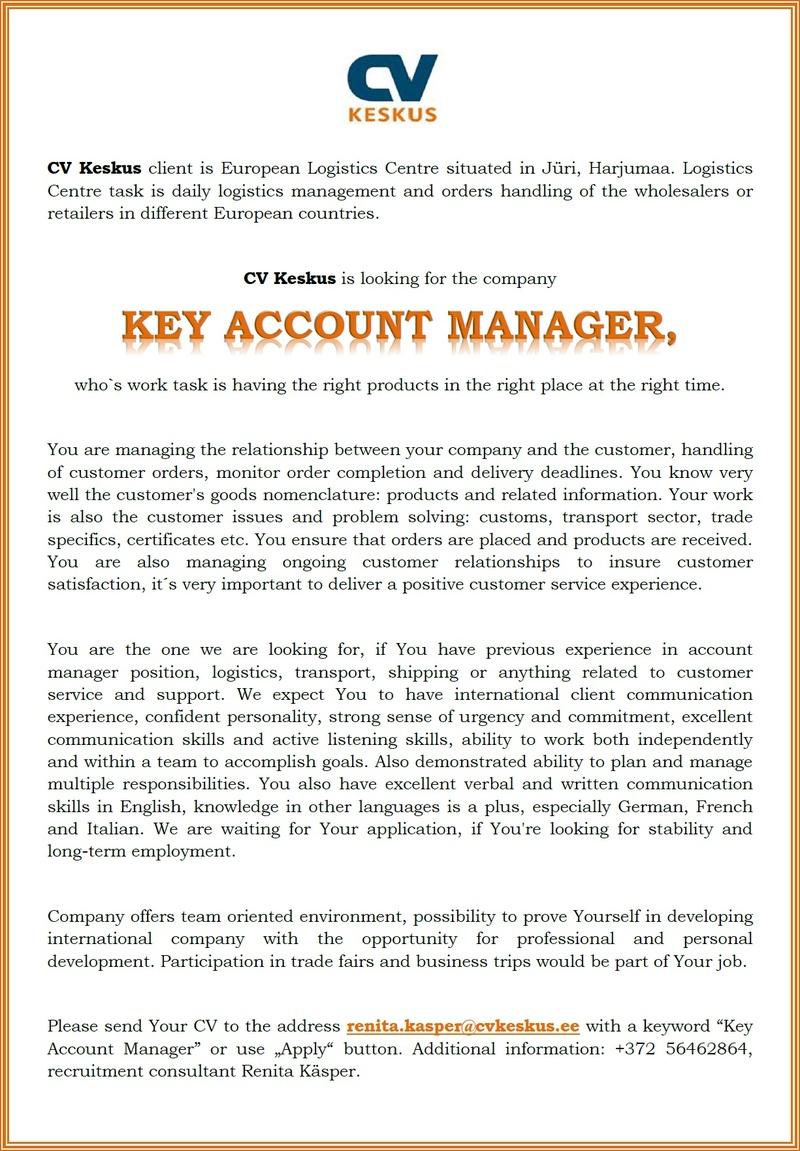 cv keskus t ouml ouml pakkumine key account manager toumloumlpakkumise number