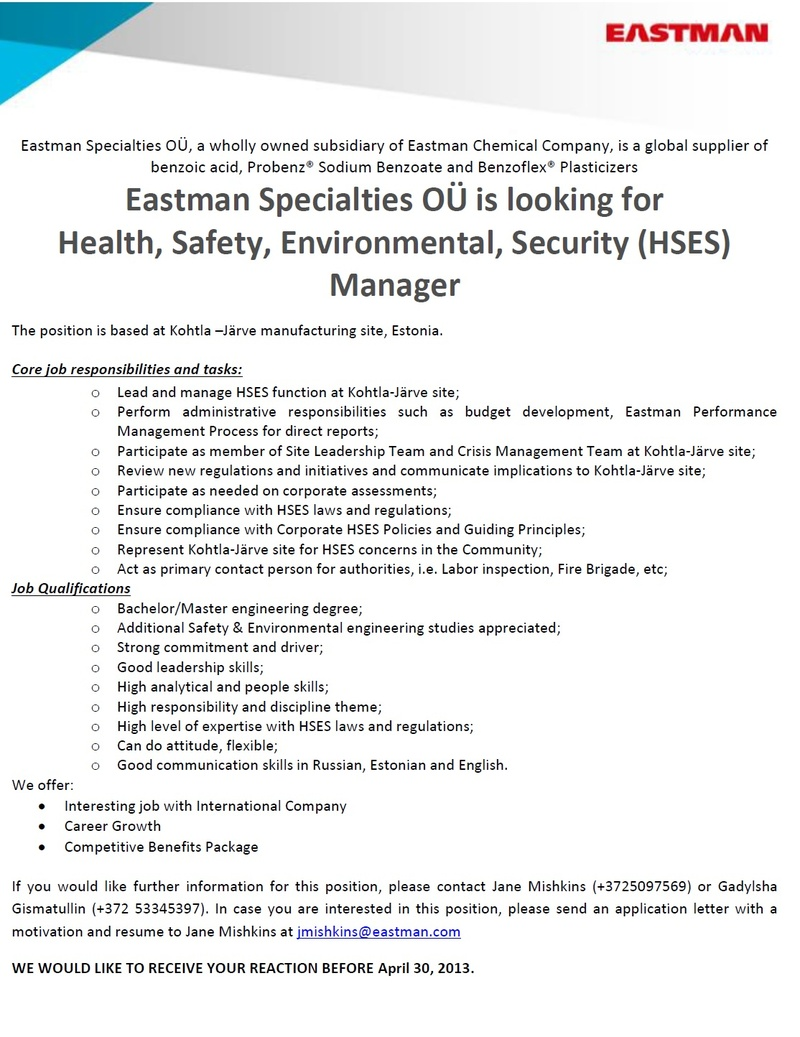 CVKeskus.ee client Health, Safety, Environmental, Security (HSES) Manager