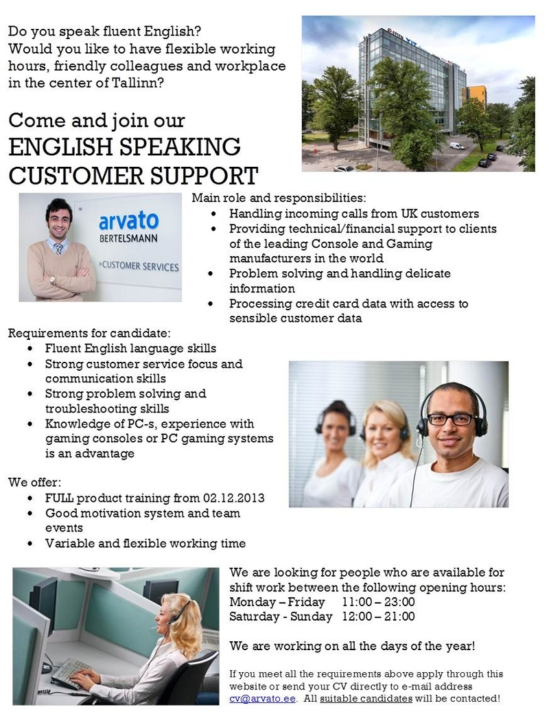 CVKeskus.ee klient ENGLISH speaking customer support