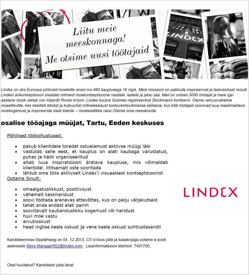 f93d25230cf CV Keskus tööpakkumine Lindex kaupluse müüja (Tartu, Eeden keskus)