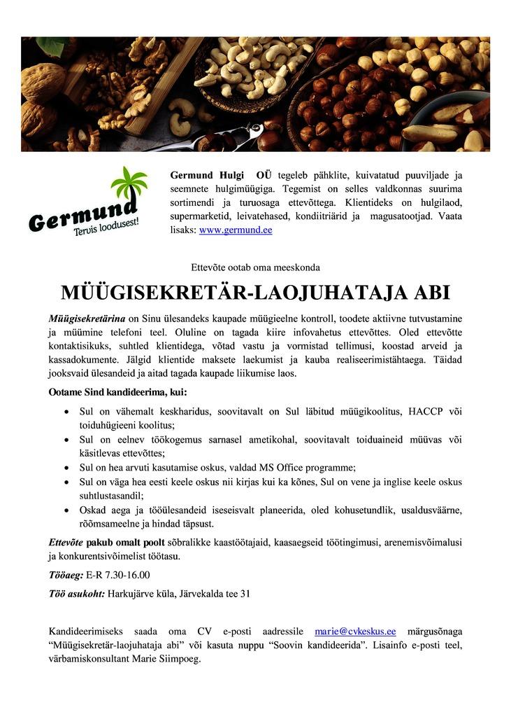 3355c032347 Firma nimi peidetud Germund Hulgi OÜ otsib müügisekretär-laojuhataja abi