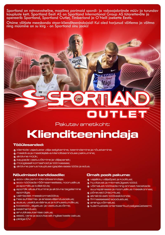 70fdc7d8900 CV Keskus tööpakkumine Sportland Outlet Centre klienditeenindaja