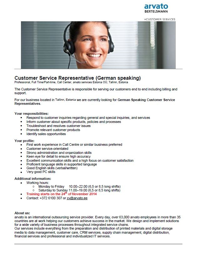 Firma nimi peidetud German Speaking Customer Service Representative