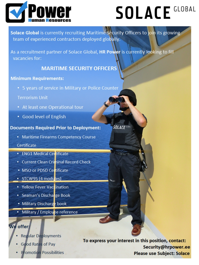 Firma nimi peidetud Maritime Security Officer