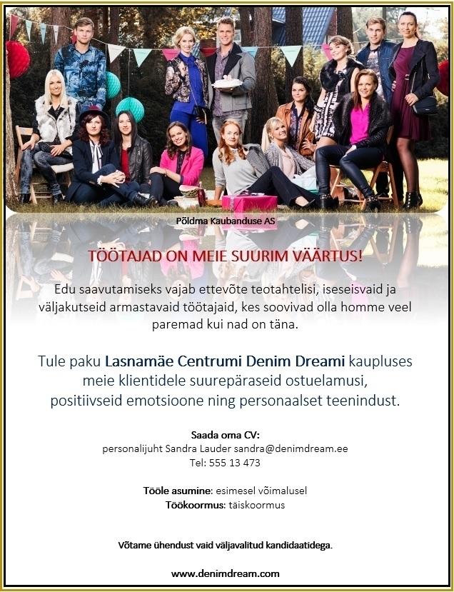 f0858e8f9c5 Firma nimi peidetud Lasnamäe Centrumi DENIM DREAM kaupluse MÜÜGIKONSULTANT