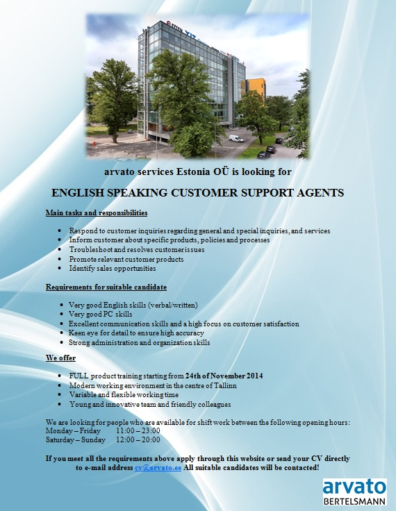 CV Market´s client English speaking customer support