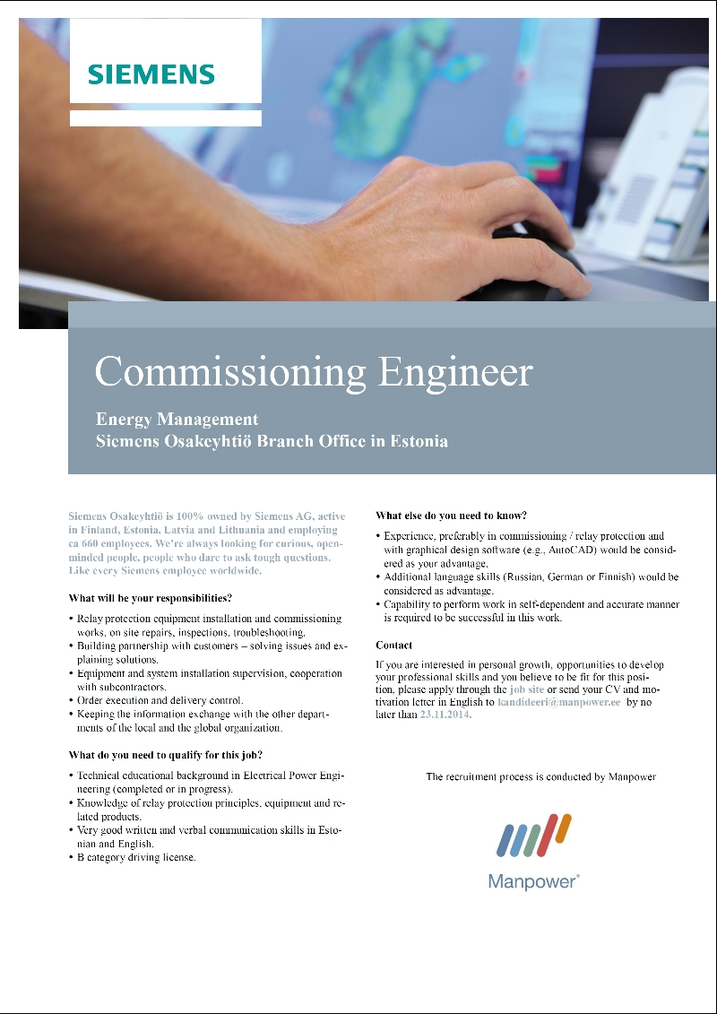 CV Market´s client Commissioning Engineer