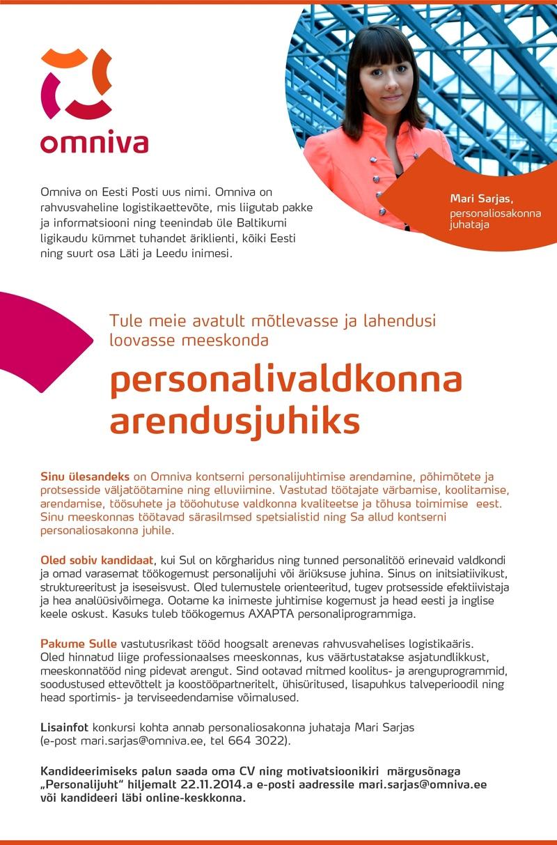 aaf8f463ad2 CV Keskus tööpakkumine Personalivaldkonna arendusjuht