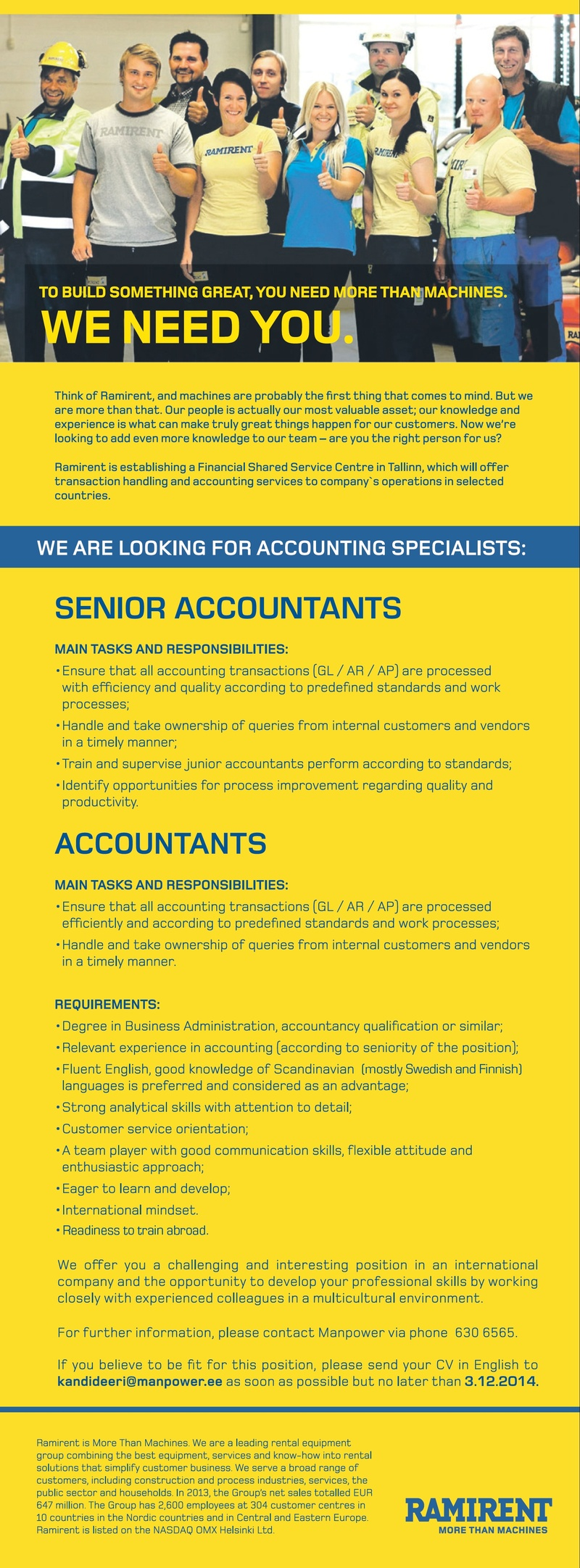 CV Market´s client Accountant / Senior accountant