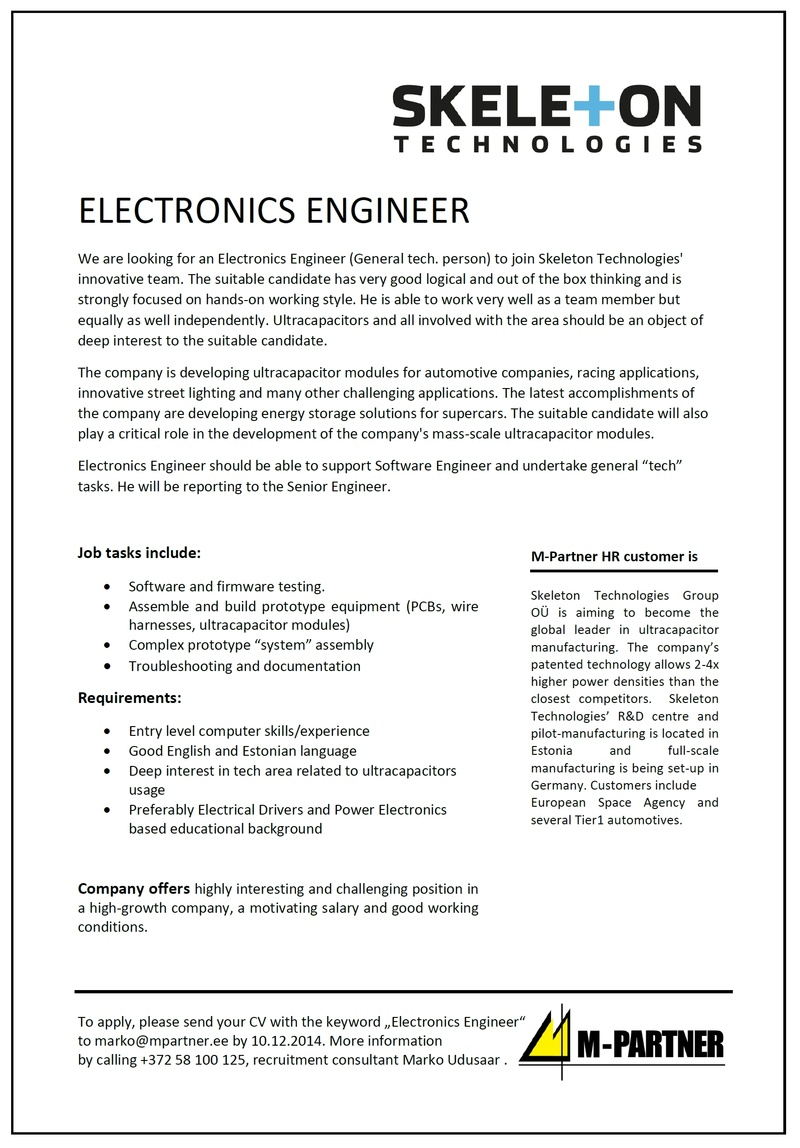 CV Market´s client ELECTRONICS ENGINEER