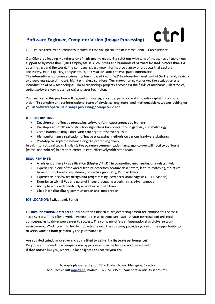 CV Market´s client Software Engineer (Image Processing)