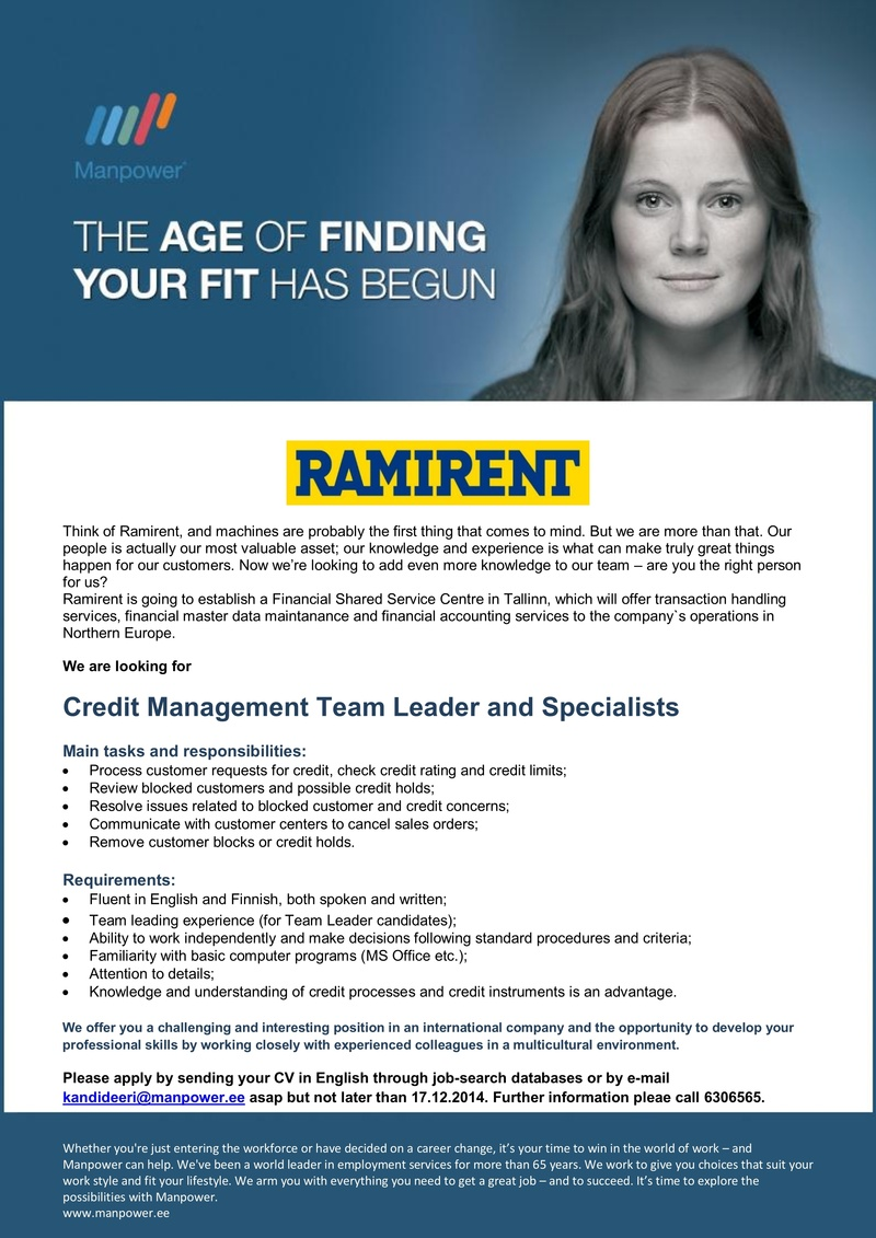 CV Market´s client Credit Management Team Leader and Specialist (Finnish language)