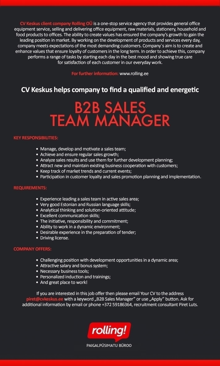 CV Market´s client Rolling is looking for B2B sales team manager