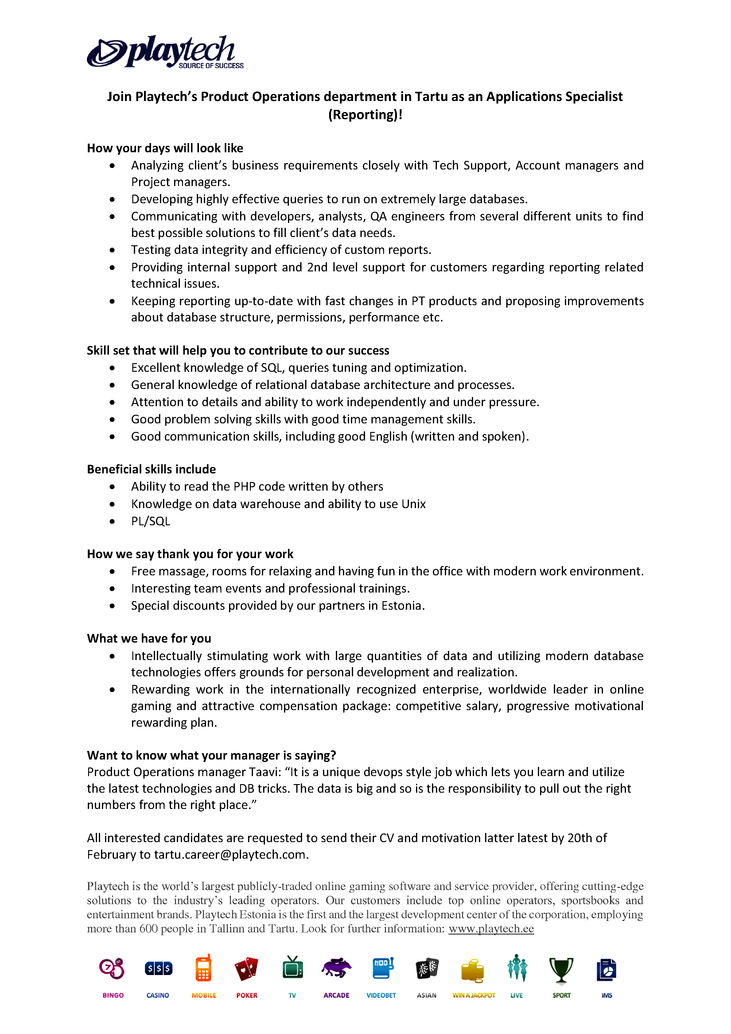 CV Market´s client Applications Specialist (reporting)