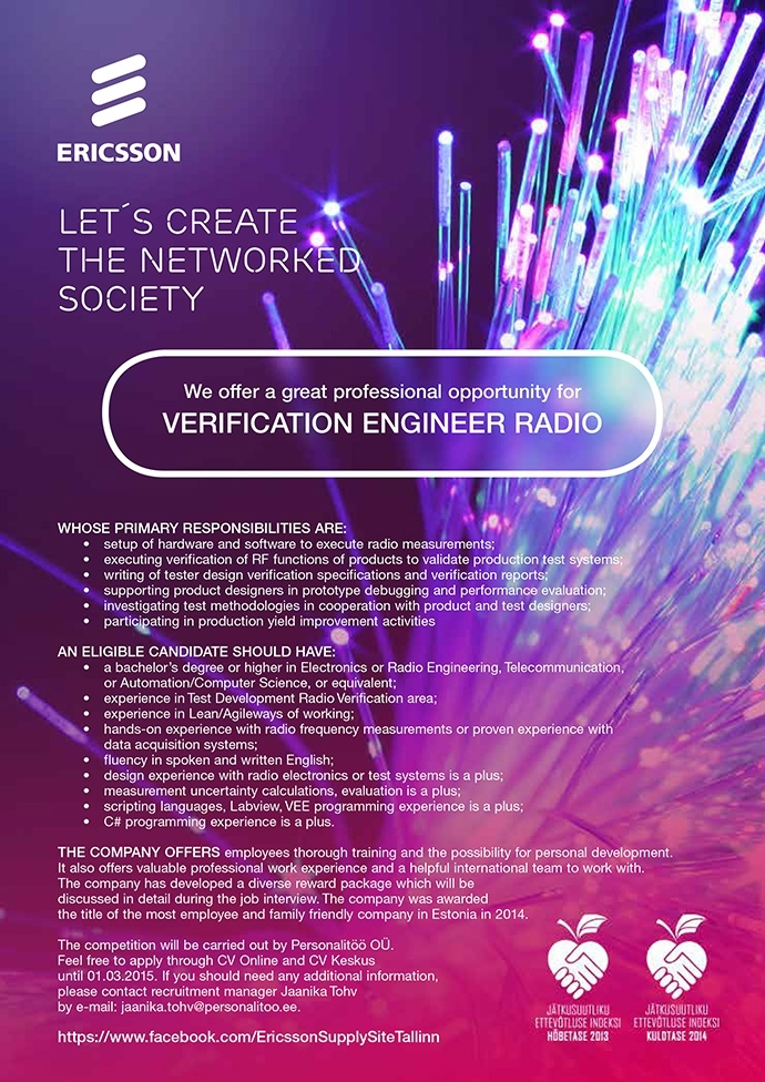 Firma nimi peidetud Verification Engineer Radio
