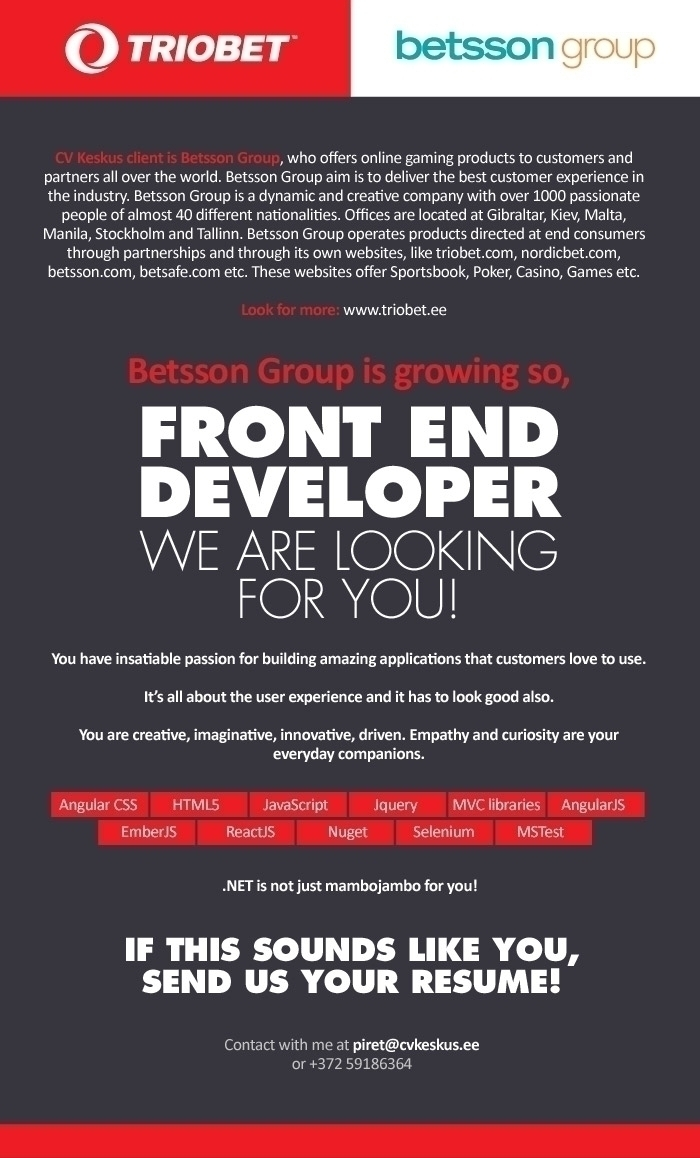 Firma nimi peidetud Betsson Group is looking for Front End Developer!