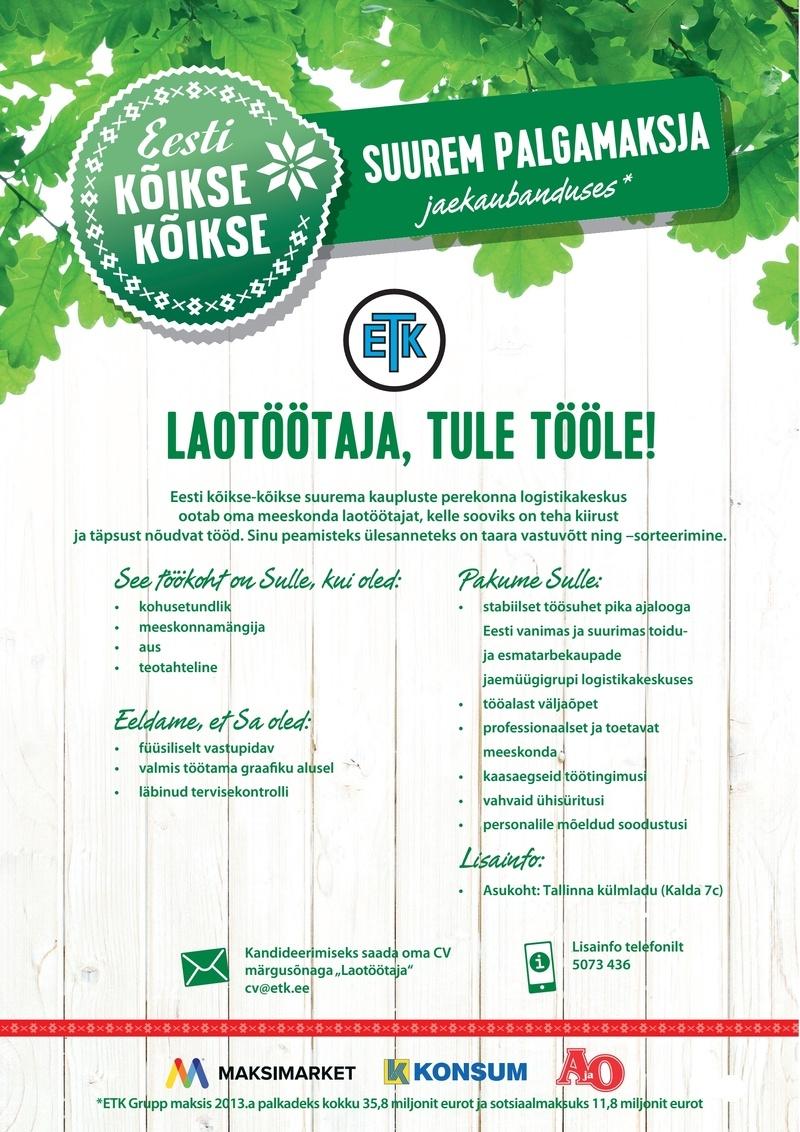 06bb6fde805 CV Keskus tööpakkumine Laotöötaja (Tallinna külmladu)