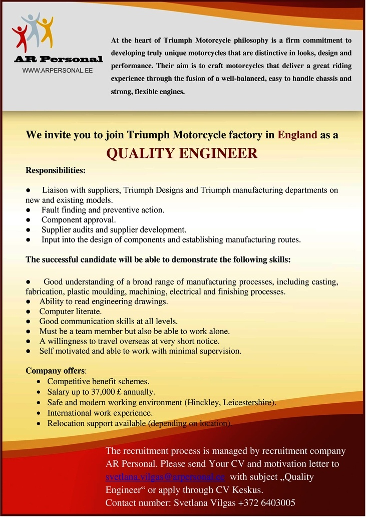CV Market´s client Quality Engineer