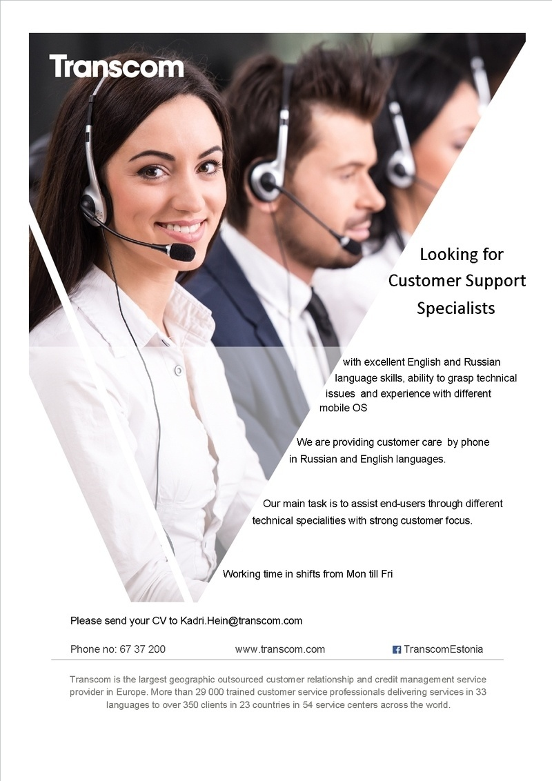 Firma nimi peidetud English and Russian speaking customer support specialist
