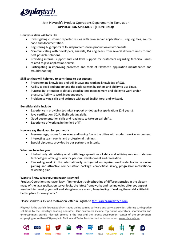 CV Market´s client Application Specialist (Frontent)