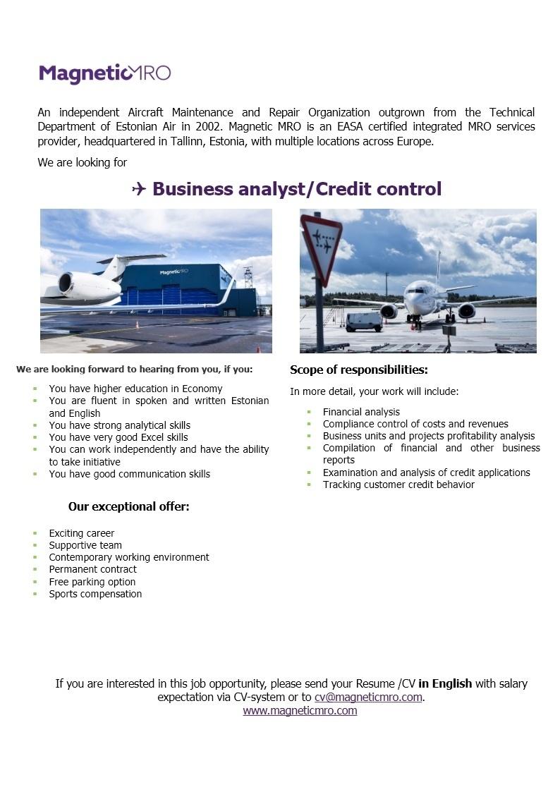 cv keskus tööpakkumine business analyst credit control tööpakkumise number