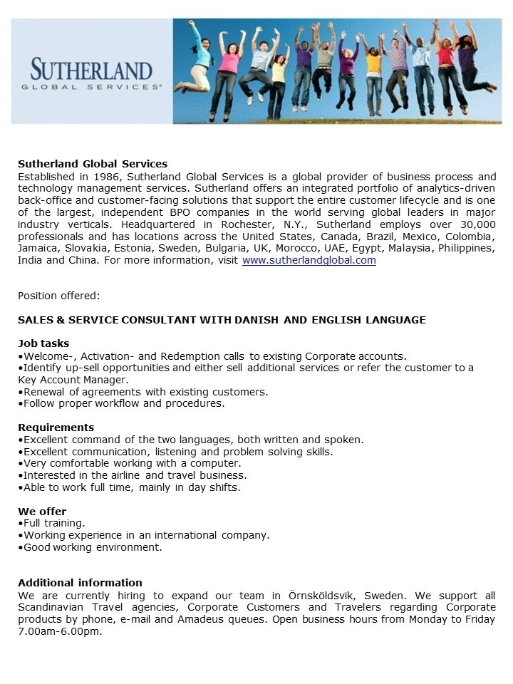 CV Market´s client Sales & Service Consultant with Danish and English language