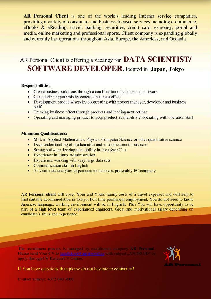 CV Market´s client Data Scientist/ Software Developer