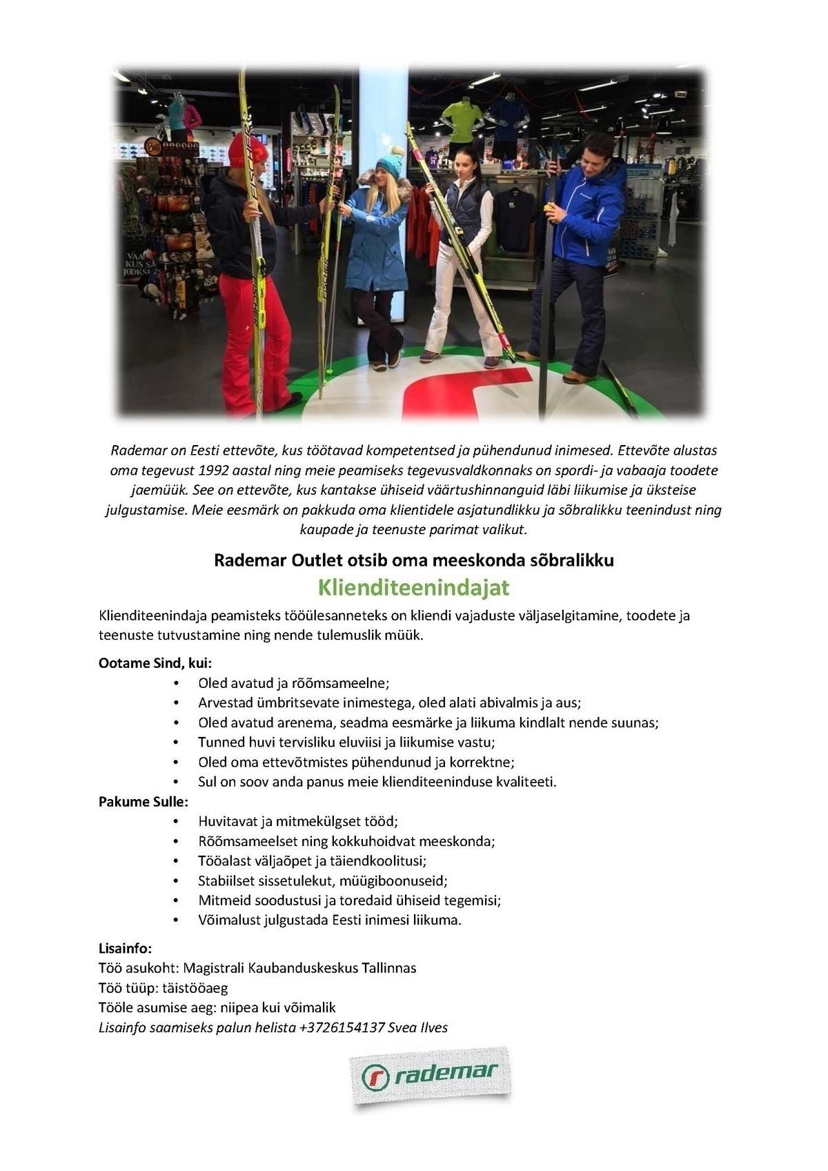 94e53c8541b CV Keskus tööpakkumine Rademar Outlet klienditeenindaja