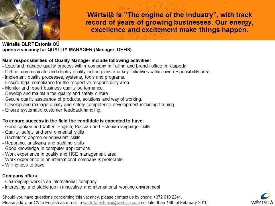 Cv Keskus Tööpakkumine Quality Manager Kvaliteedijuht менеджер
