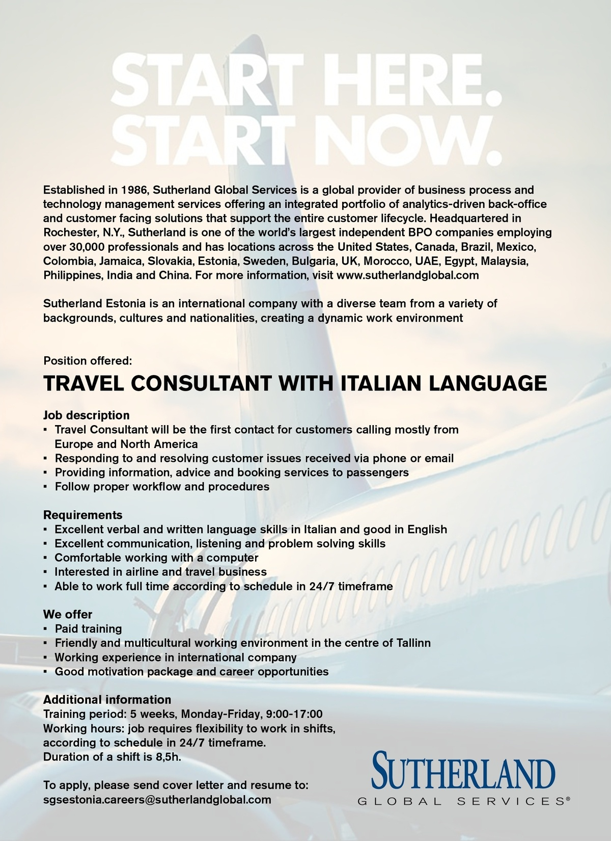 CV Market´s client Travel Consultant with Italian language