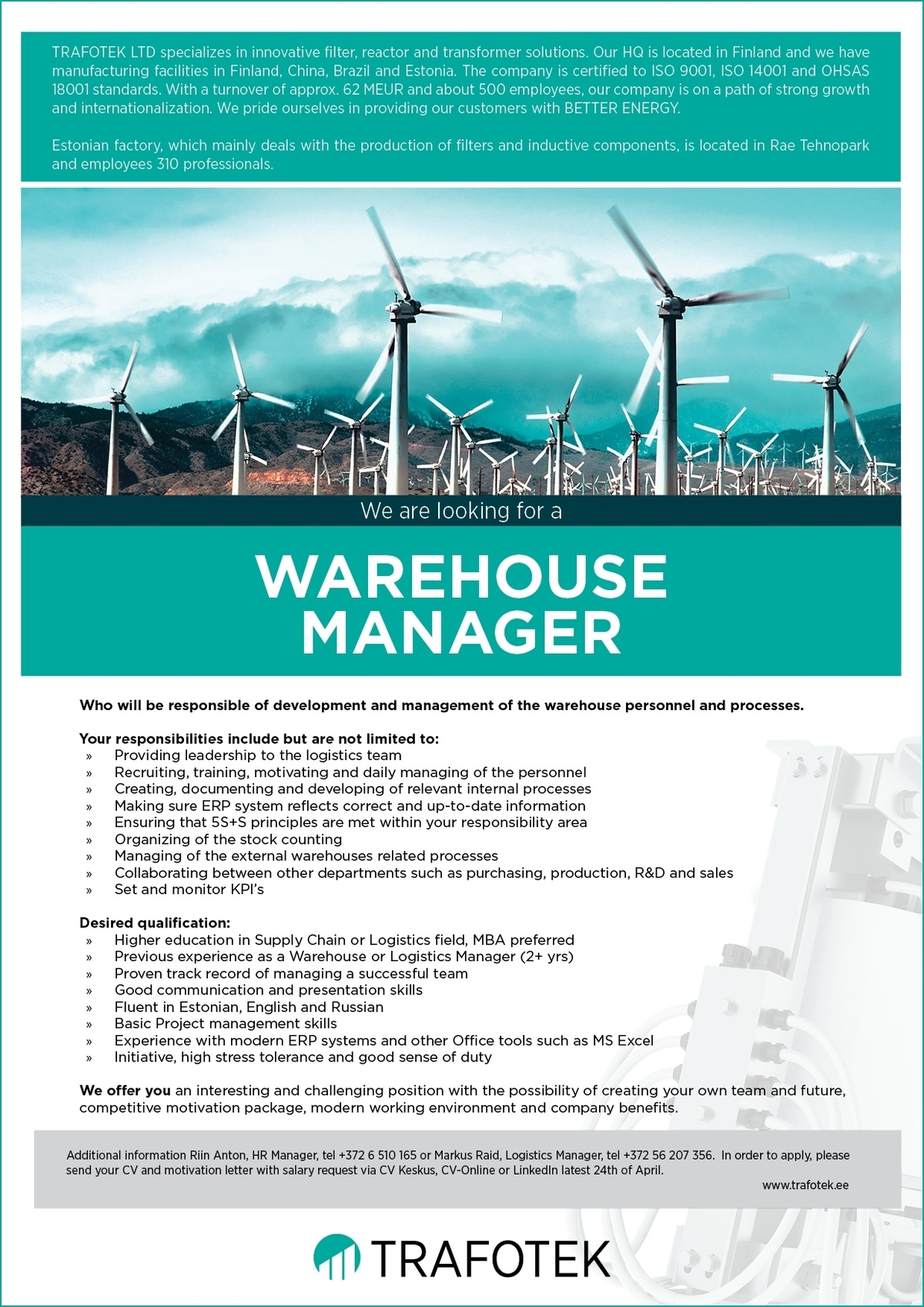 CV Market´s client Warehouse Manager