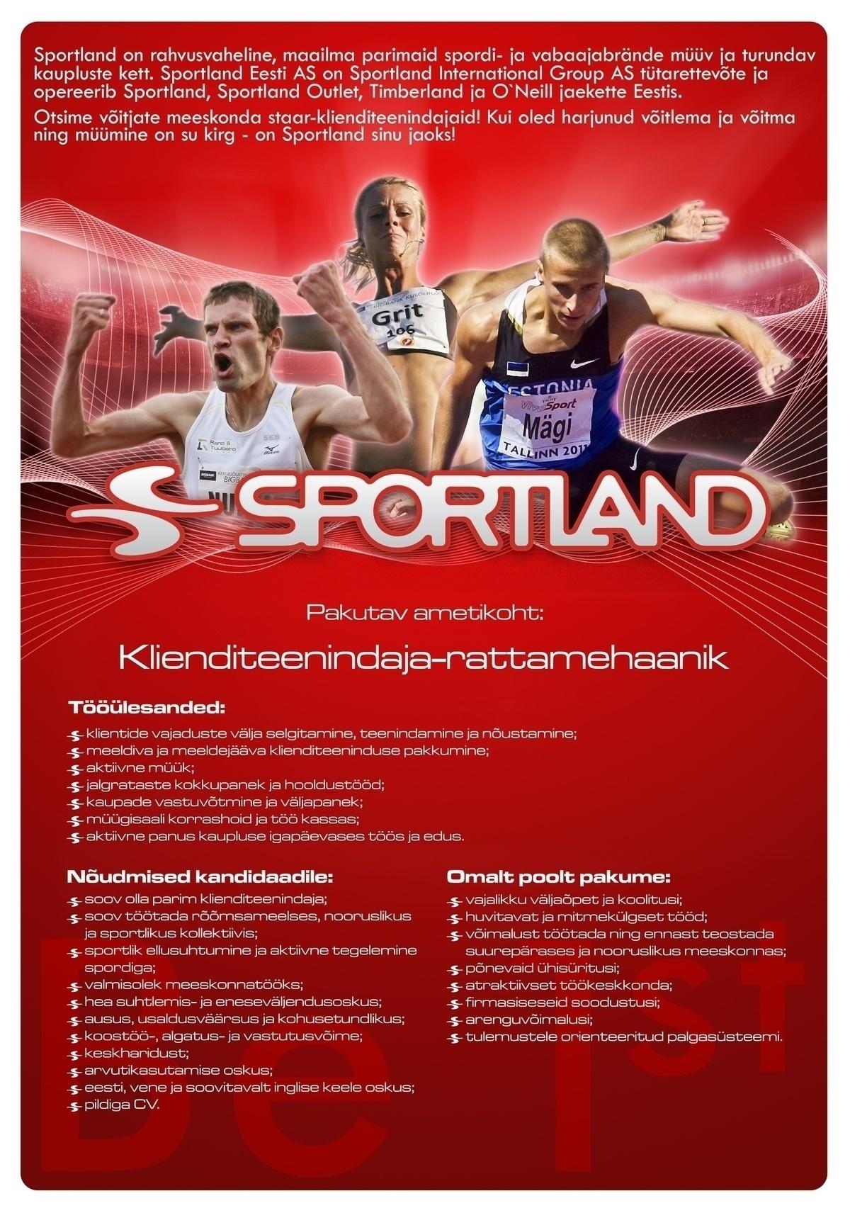 9fafddae3d3 CV Keskus tööpakkumine Sportland Järve klienditeenindaja-rattamehaanik