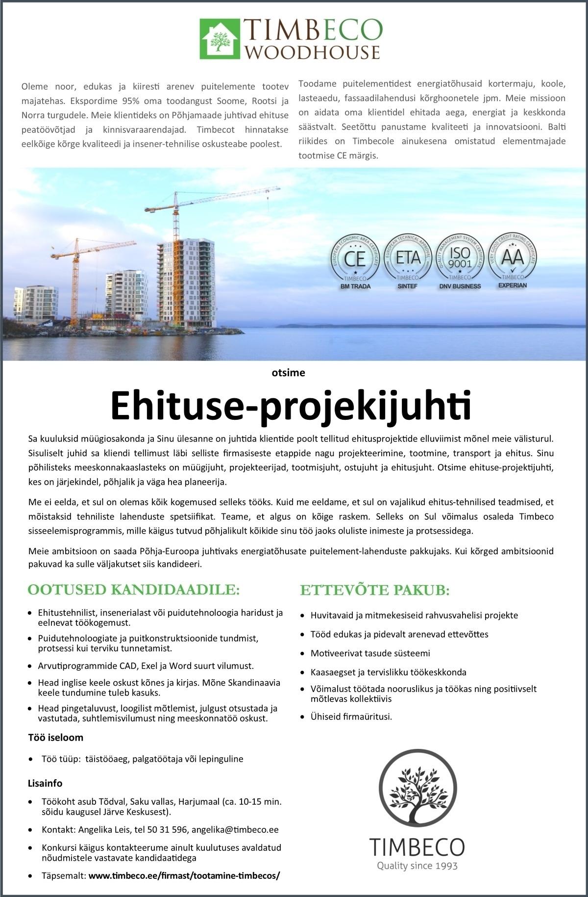 4b39e7b19de CV Keskus tööpakkumine Ehituse - projektijuht